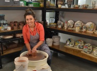 Artist Catie Miller at her Red Star Studio.