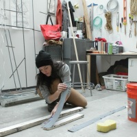 Artist Suzanne Torres at her studio at UW-Madison.