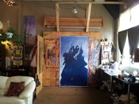 Artist Todd Mrozinski at his studio at the Nut Factory.