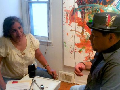 Frank being interviewed for Artspeak Radio