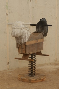 """There Are Times - 2015 - reclaimed lumber and clay - 43"""" x 46"""" x 20"""""""
