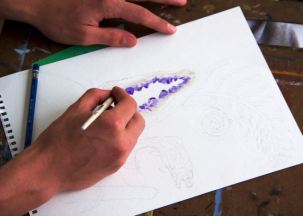 Studio art students working on Be One with Nature: Painting your Surrouding