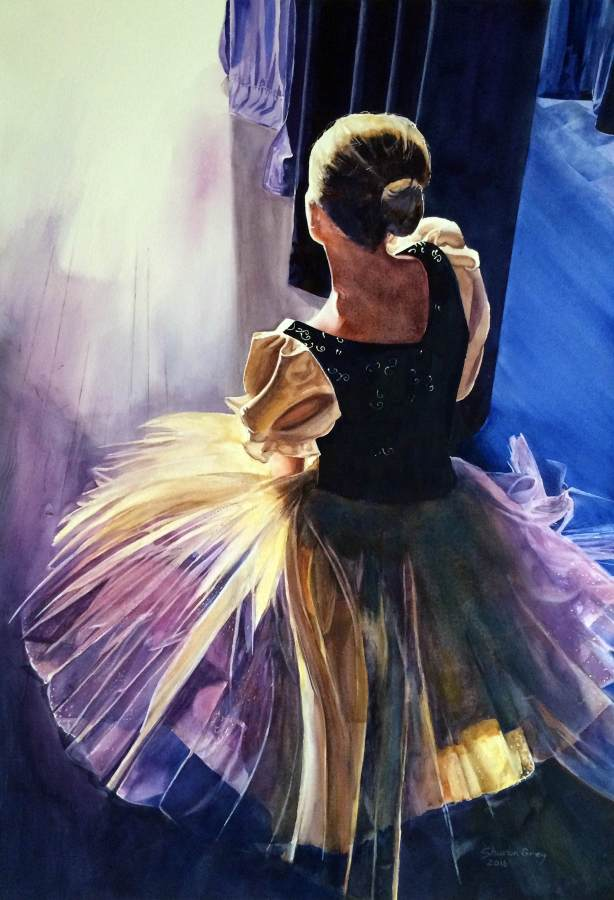 Sharon Grey, Backstage, watercolor, 22X28, 2016