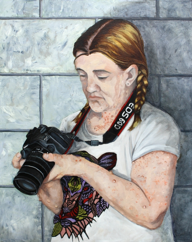 "Rachel Mindrup, Hayley Shooting Photos, Oil on Canvas, 30"" x 24"", 2015"