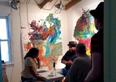 MAS founder/art educator, Frank Juarez being interviewed by Artspeak Radio host, Maria Vasquez Boyd